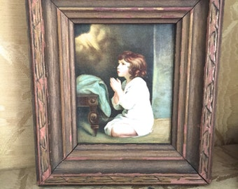 1920's-40's print of a praying child-in original frame