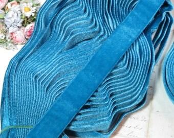 "7/8"" PEACOCK BLUE ~ Vintage SWISS Velvet Ribbon Trim Jumeau Doll Dress Victorian Edwardian Ladies Millinery Hat Supply Fabric Trim"