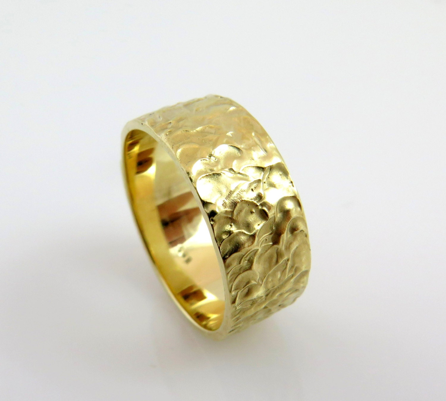 Wedding Band Yellow Gold 14K Gold Hammered Wedding Band
