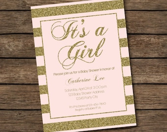Pink & Gold Baby Shower Invitation - It's a Girl - Striped Glitter Invitation - Printable Invitation - Modern Shabby Chic Invitation