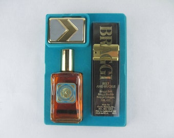 1970s BRAGGI International Cologne by Charles Revson - nos 2 fl oz BOX SET with leather belt and buckle - new old stock, deadstock, unopened
