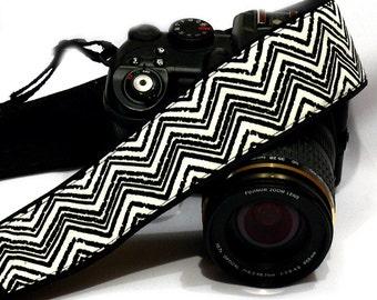 Chevron Camera Strap. DSLR SLR Camera Strap. Black White Camera Strap. Camera Accessories