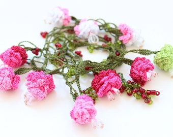 Pink Rose Necklace, Oya crochet jewelry, lace flower scarf, Wrap Necklace, Woodland bride, gift for her