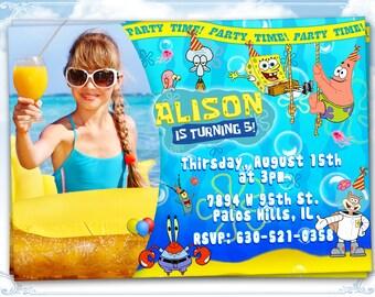 SpongeBob invitation SpongeBob birthday card invitation SpongeBob Squarepants