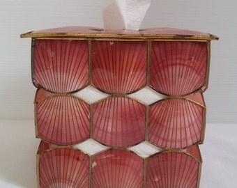 Vintage Seashell Tissue Box (1960s)