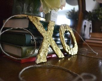 XO gold glitter ribbon banner/garland