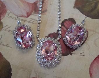 "Swarovski Elements ""Exquisite"" in Light Rose Sparkle Bling Crystal Necklace!"