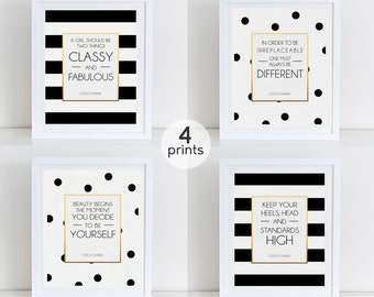 Coco Chanel Quote, Set 4 Coco Art Prints, Coco Fashion Quotes, Fashion Art Print, Instant Download, Printable Decor, Motivational Art Print