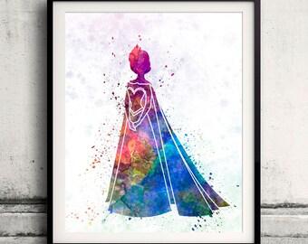 Elsa The Snow Queen - Frozen - 8x10 in. to 12x16 in. Fine Art Print Glicee Disney Poster Watercolor Children's Art Illustration-SKU 1056