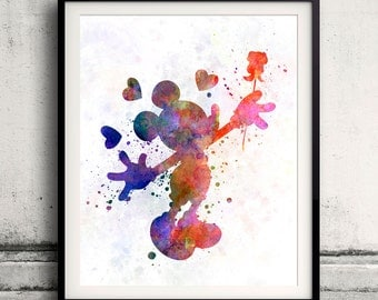 Mickey Mouse 8x10 in. to 12x16 in. Fine Art Print Glicee Disney Poster Watercolor Nursery Gift Room Children's Art Illustration - SKU 1068