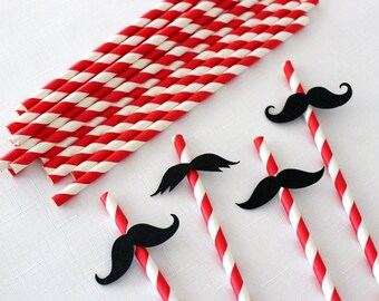 DIY Moustache Paper Straws Kit, Movember, candy buffet, birthday, baby shower, red, pink or yellow - 20 pcs