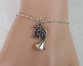large french horn bracelet, silver french horn charm , french horn trumpet, french horn player gift, christmas gift, adjustable bracelet