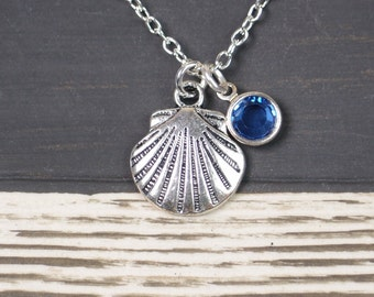 birthstone necklace, sea shell necklace, long necklace option, silver shell charm on silver plated chain, beach wedding, bridesmaid gift