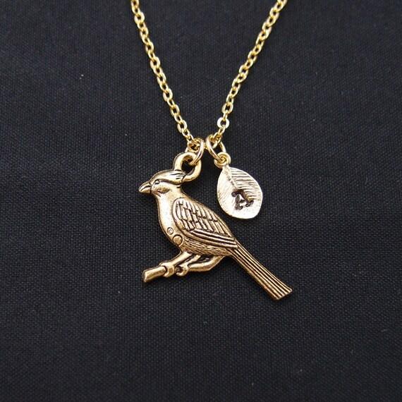 initial necklace cardinal bird necklace gold bird by