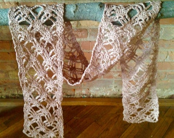 Crochet scarf lacy cotton ecru