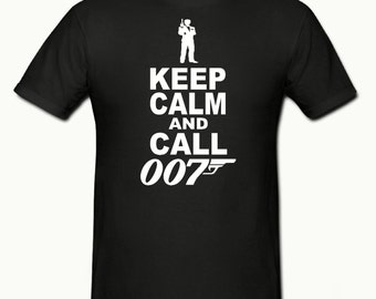 Keep calm & call 007 t shirt,mens t shirt sizes small- 2xl,funny t shirt