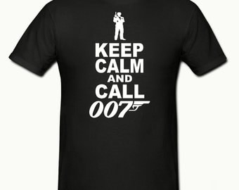 Keep calm & call 007 t shirt,mens t shirt sizes small- 2xl,funny t shirt