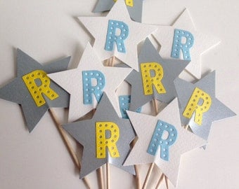 Initial personalised Star Cupcake Toppers for Weddings and Birthdays