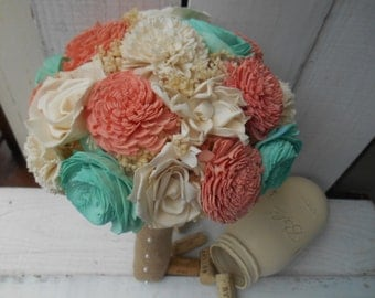 Sola bouquet, bouquet, brides bouquet, rustic wedding, wedding bouquet, alternative bouquet, keepsake bouquet, teal, mint, peach, coral