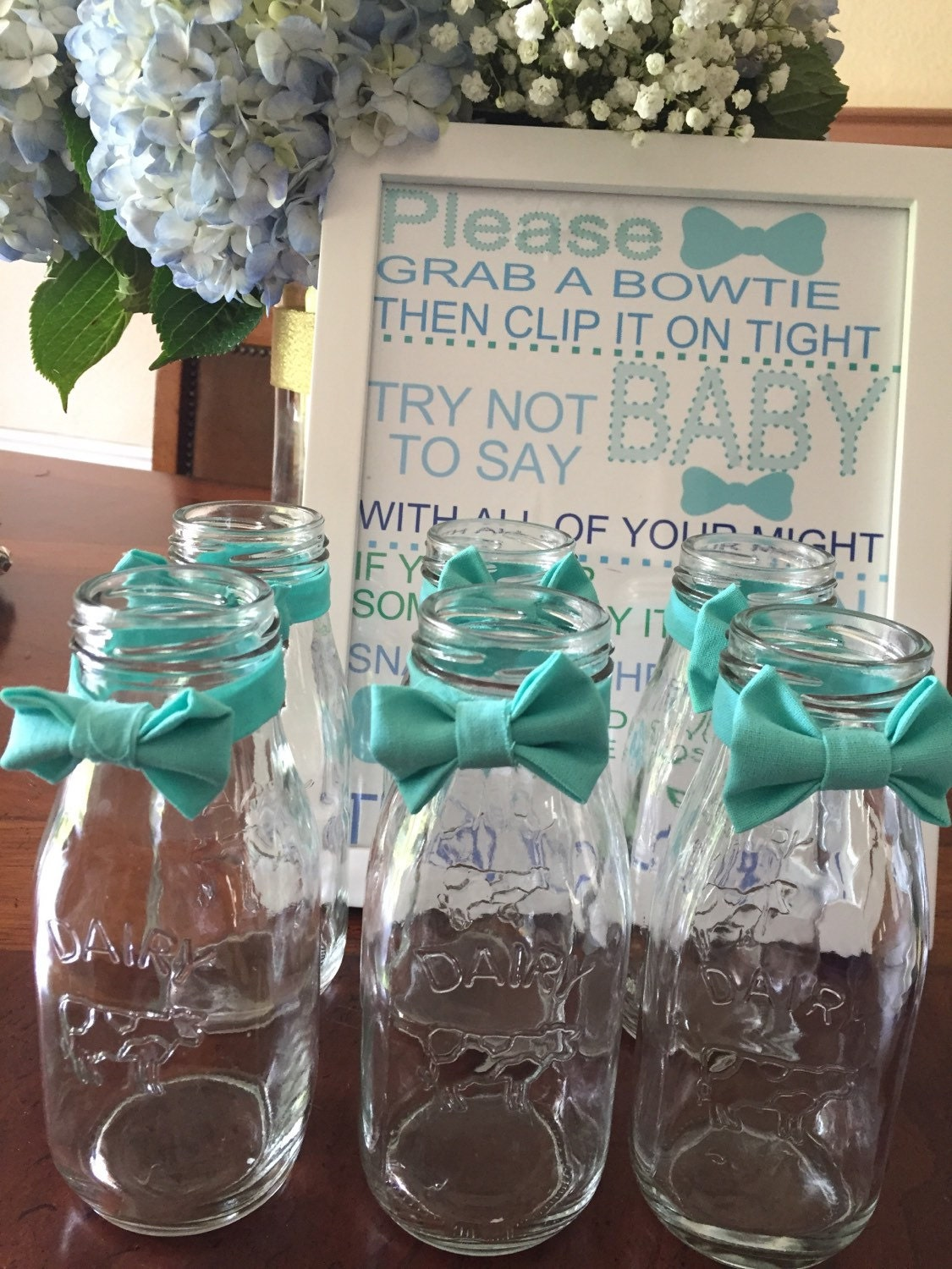 Boy Baby Shower Glass Milk Bottles With An Adorable Bow Tie