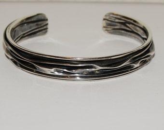 Sterling Silver Oxidized wrinkled Design Cuff Bracelet