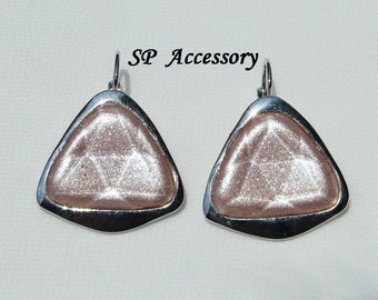 Pink Jewelry, Sparkling Pink Triangle Earrings, stainless steel earrings, jewelry earrings