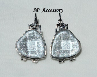 Silver Jewelry, Sparkling Silver Earrings, stainless steel earrings, jewelry earrings