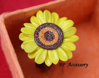 Ring Sunflower, jewelry ring, daisy ring, flower ring, sunflower ring, sweet ring, ring clay
