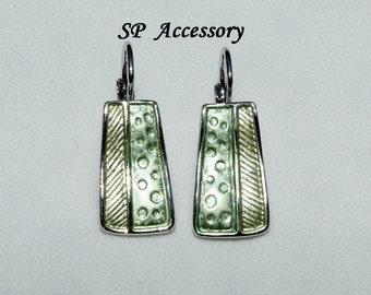 Golden Green Rectangle Earrings, green jewelry, stainless steel earrings, jewelry earrings
