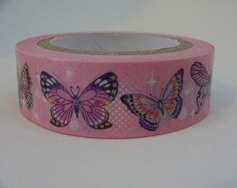 Washi masking pink tape with butterflies 10 m/11 yards crafting tape washi decorative tape cardmaking tape scrapbook tape summer washi tape