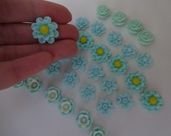 33 aqua mix flowers roses resin flatback decoden cabochons embellishment resin scrapbook DIY phone hair bow centre clip pin