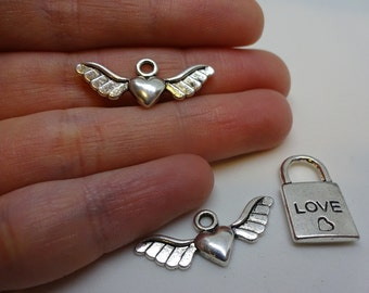 Set of 3 flying hearts and love lock charms pendants silver plated antique DIY bracelets and necklaces jewellery making charms pendant