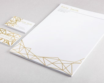 Gold business card template and letterhead design custom gold foil, instant download stationery set template golden brand identity marketing