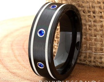 Tungsten Wedding Band Ring Flat Pipe Cut Customized Band Blue Sapphire Laser Engraved Ring Mens Tungsten Ring Design Modern Double Striped
