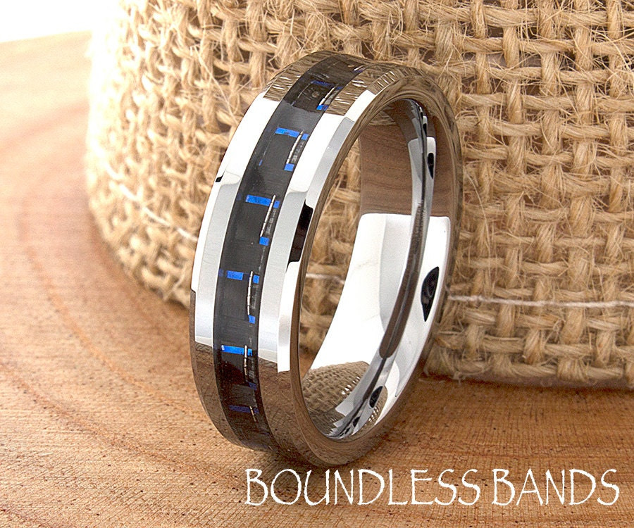 blue carbon fiber tungsten wedding ring navy blue mens wedding band custom laser engraving ring for - Tungsten Mens Wedding Ring