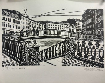 Sennoy Bridge Original Linocut Relief Print