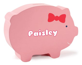 Pink Lulu the Pig Personalized Wooden Piggy Bank