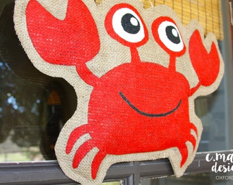 Crab Burlap Door Hanger