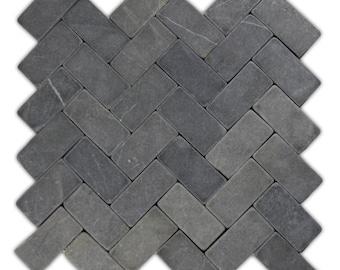 Hand Made Mini Stone Tile - Grey Herringbone Stone Mosaic Tile 1 sq. ft. - Use for Mosaics, Showers, Flooring, Backsplashes and More!