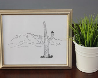 Superstition Mountains, Arizona Line Drawing, reproduction from original ink drawing