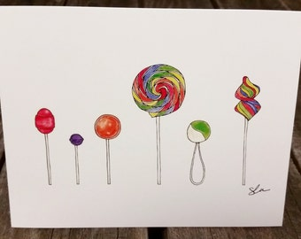 Lollipops Thank You Card - Line Drawing or Colored + Sets