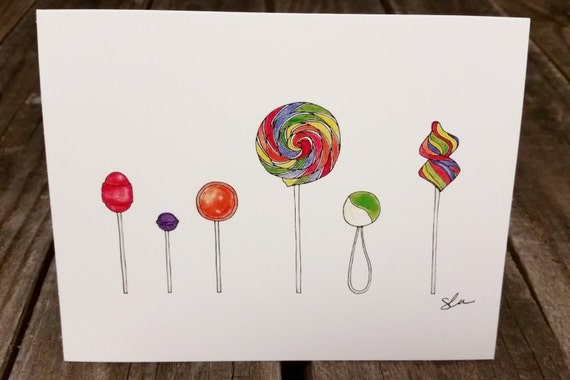 Line Art Thank You : Lollipops thank you card line drawing or colored sets