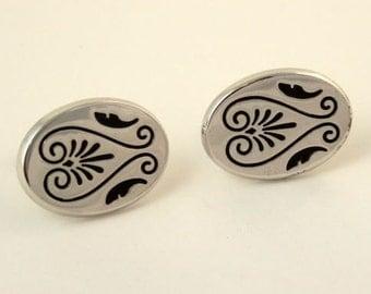 Vintage 1950s HICKOK Cufflinks Silver Tone Lyre Shape Cuff Links