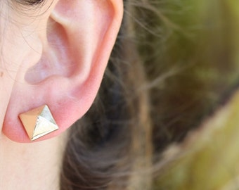Gold Pyramid Stud Earrings- minimal/ minimalist/ modern/ small square studs/ geometric studs/ everyday studs/ gifts for her/ girlfriend gift