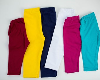 Solid Baby Leggings, Deep Red, Yellow, Navy, White, Fuchsia, Teal, Choose Color, Infant Leggings, Knit Leggings, Baby Pants, Made To Order