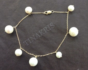 14k solid yellow gold and dangling genuine freshwater pearls bracelet