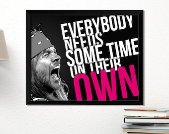 Guns N' Roses poster, rock poster, Axl Rose, music art, typography art