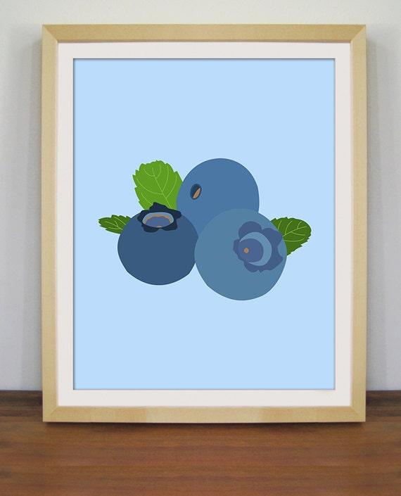 Https Www Etsy Com Listing 223348748 Blueberry Art Fruit Print Kitchen Decor