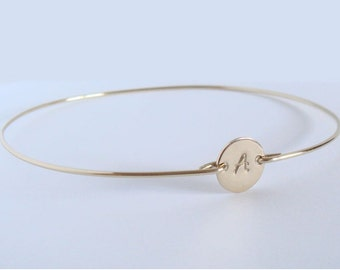 PERSONALIZED gold initial bangle - Bridal personalized initial bracelet - Initial bracelet - Custom initial bangle - Personalized jewelry