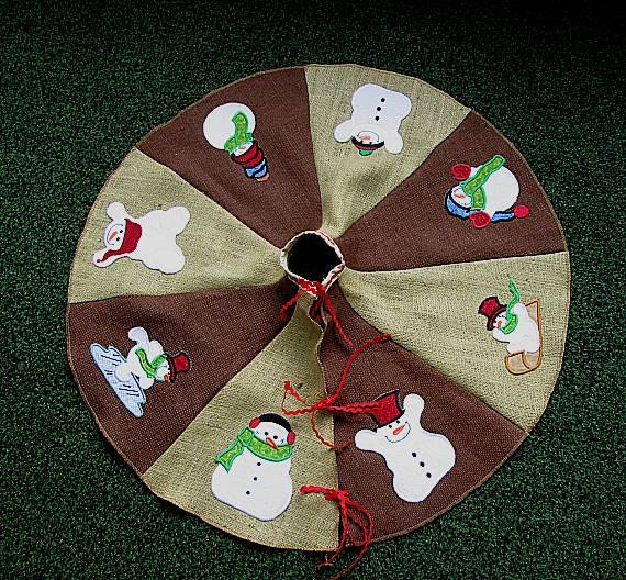 Snowman christmas tree skirts page two christmas wikii for Snowman made out of burlap